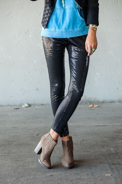 Sequin leggings + ankle booties.