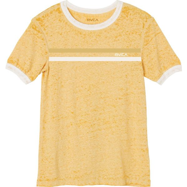 RVCA Women's Stripe Chest Ringer T-Shirt ($29) ❤ liked on Polyvore featuring tops, t-shirts, gold, stripe t shirt, striped sleeve t shirt, vintage style t shirts, beige t shirt and graphic t shirts