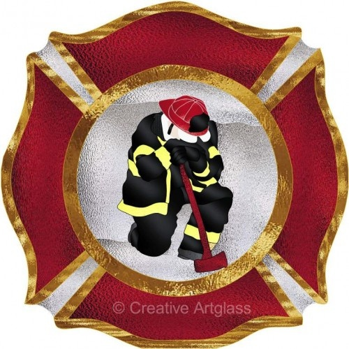 Firefighter Maltese CrossStained Glass