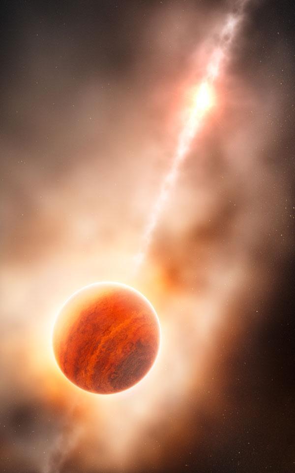 Erstmals entstehenden Planeten entdeckt?   Proto-Riesenplaneten-Kandidat im stellaren Mutterleib mit Very Large Telescope ausgemacht. Abb.: Künstlerische Darstellung eines Gasriesen, der sich in der staubigen Umgebung des jungen Sterns HD 100546 bildet. (Bild: ESO, L. Calçada) http://www.pro-physik.de/details/news/4427051/Erstmals_entstehenden_Planeten_entdeckt.html