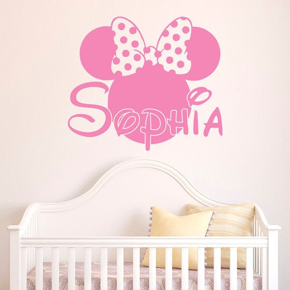 Girl Name Wall Decal Minnie Mouse Wall Decals by FabWallDecals