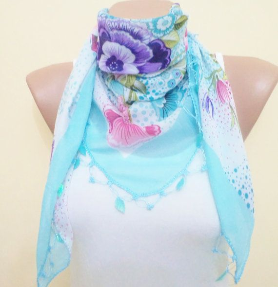 Beautiful Scarf!! Love it! Beaded lace pink and blue shawlstylish by BloomedFlower on Etsy, $15.00