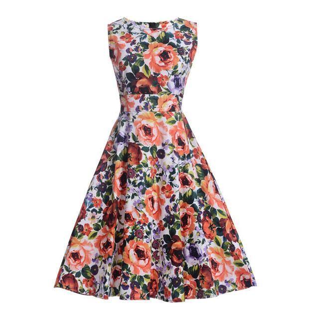 Floylyn  Women's 1950's Vintage Dress Sleeveless Floral Print Casual Beach Hepburn Rockabilly Swing Dress Vestidos