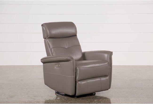 Lacey Grey Leather Power Swivel Glider Recliner W/ Adjustable Headrest - 360