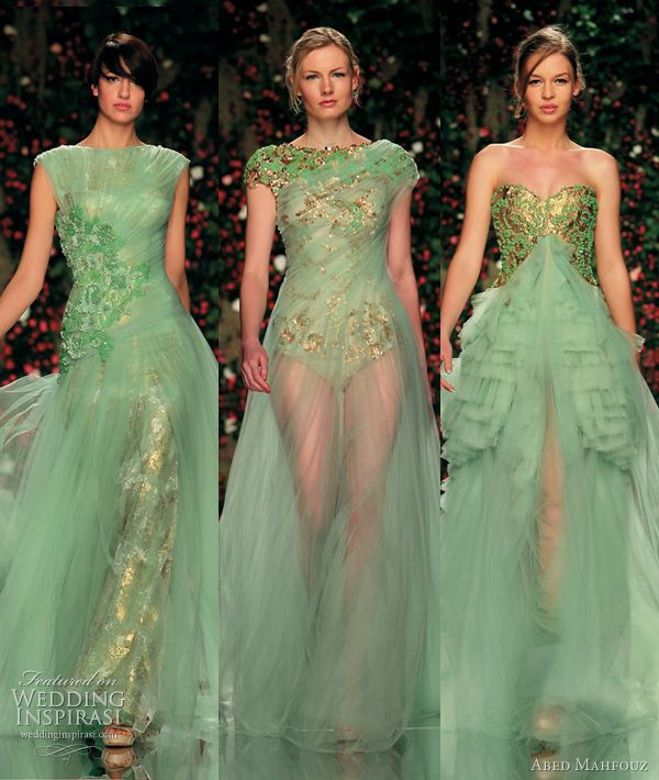 More inspiration for green wedding dresses.