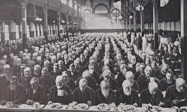 "Mealtime at the in St Marylebone workhouse c1900 | Similarities to the growing problem of homelessness in 21st-century British cities are brutally obvious, and deliberate. The Geffrye will have a parallel exhibition created by the New Horizon Youth Centre, whose members are themselves homeless or vulnerable. One told a Geffrye researcher: ""It seems that all the changes that were being made in a positive way … to try and make things better for homeless people... it's just going backwards."""
