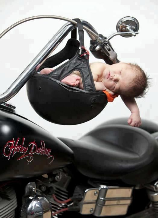 Have a photo of my eldest in our potty helmet...so special...Motorcycles and babies!  This photo really touches my heart.