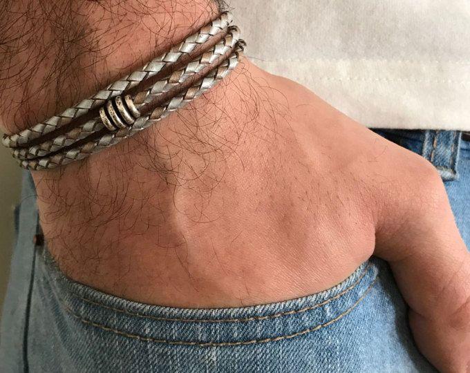 Bracciale da uomo - Men perline gioielli - uomo regalo - regalo fidanzato - marito regalo - regalo Bracciale - Bracciale uomo di cuoio - maschile per papà