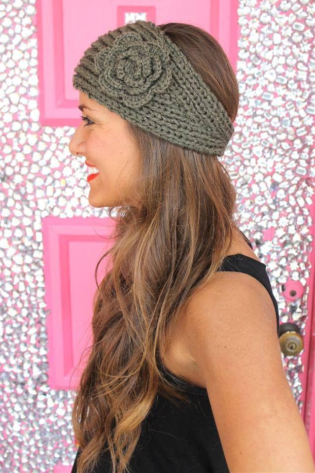 Crochet Headband in Olive