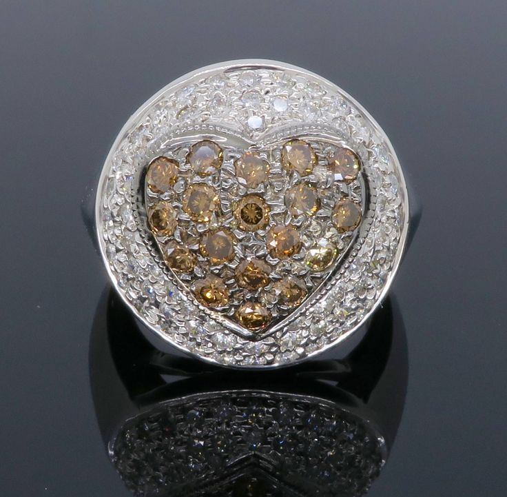 Unique Chocolate Color Heart 1.50CTW Diamond Ring by GabelGallery on Etsy