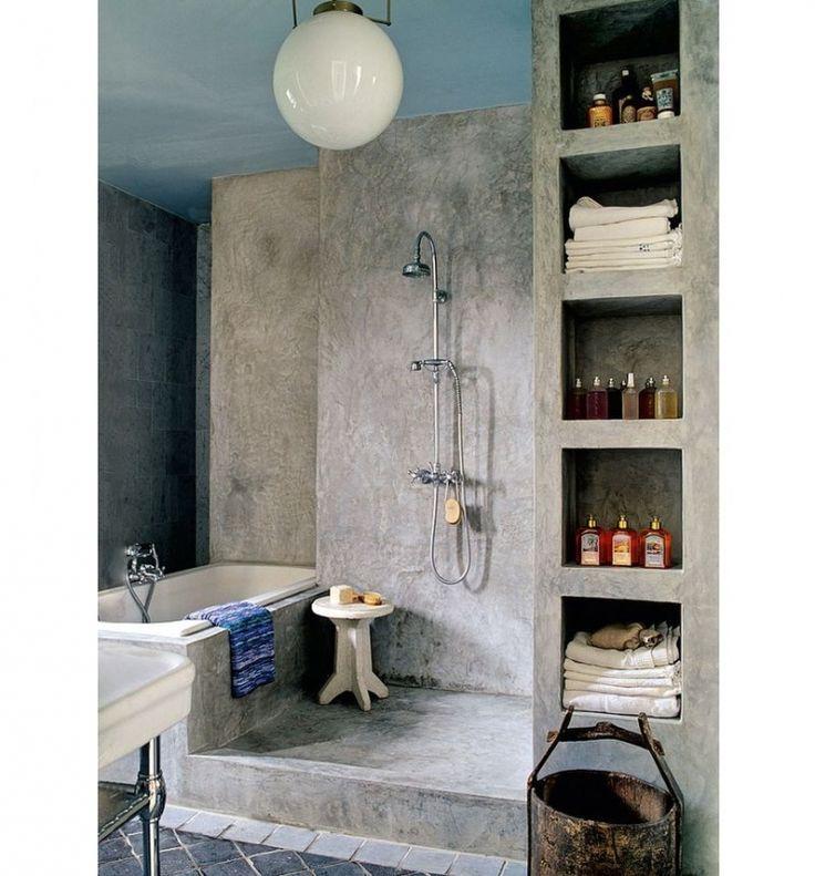 25 beste idee n over betonnen douche op pinterest beton badkamer kranen en koperen badkamer - Idee van deco badkamer ...