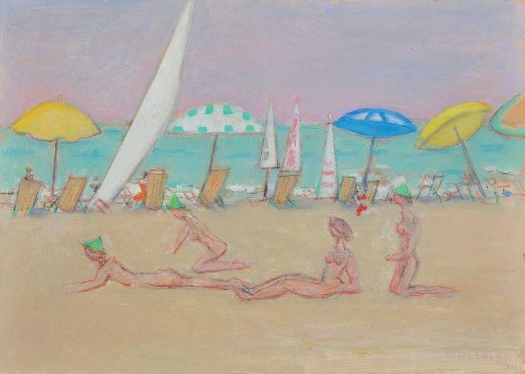 """Moses Levy (Tunisi 1885 - Viareggio 1968), """"SPIAGGIA"""", 1958. Olio su cartone, cm. 32,8x45,8 Firmato e datato in basso a destra: Moses Levy / 1958; al verso: Moses Levy / 1958 / Viareggio / Spiaggia. Certificato su foto di L. Levy, Viareggio 25.02.98. Casa d'aste Farsettiarte"""