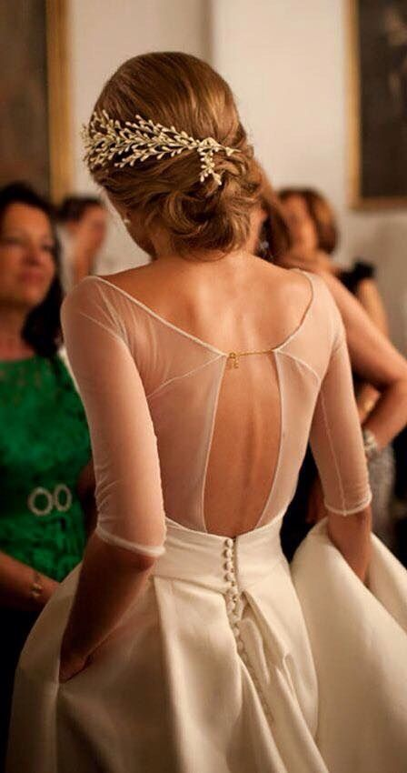 Beautiful sheer back bridal gown design ----pinned by sheer ever after weddings