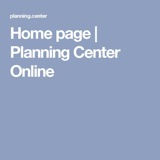 Home page   Planning Center Online