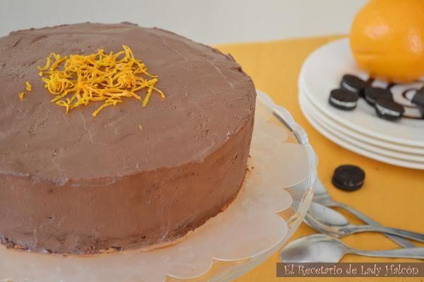 Tarta de galletas oreo, queso crema al chocolate y naranja | Cocina