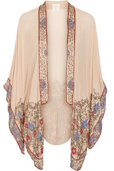 Love this Piece, ----There is nothing more beautiful and easthetic than Chinese art--- would love to see more items designed with chinese art inspiration----Anna Sui Bead-embellished crinkled silk-chiffon kimono jacket | NET-A-PORTER                                                                                                                                                                                 More