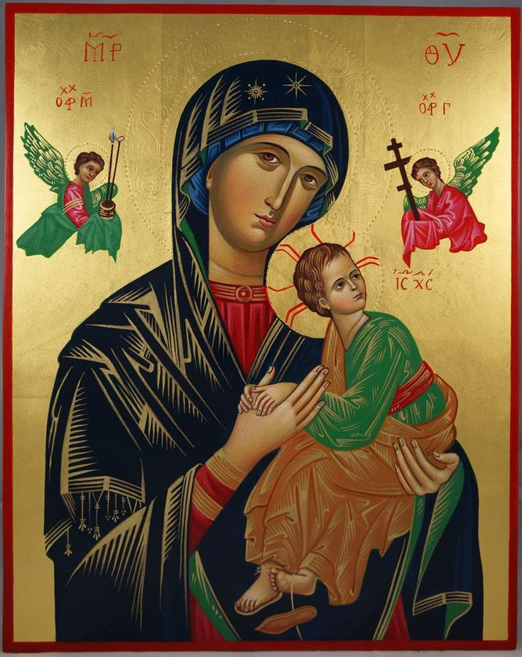 """Hand-Painted icon """"Our Lady of Perpetual Help""""- This is a premium quality icon made with pure 23K gold leaf. Painted using traditional technique - egg tempera, lime wood panel with slats on the back, varnish, 23 karat gold leaf. About our icons Blessedmart offers hand-painted religious icons that follow the Russian, Greek, Byzantine and Roman Catholic traditions."""
