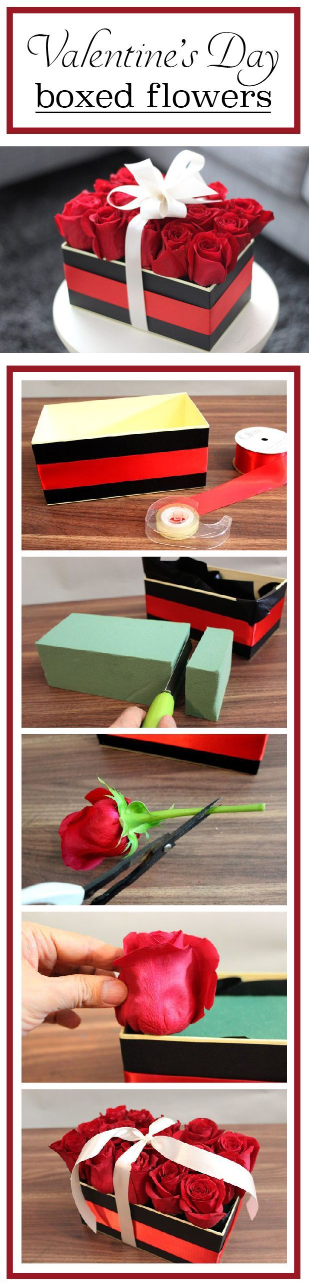 An easy DIY Valentine's Day arrangement! Boxed roses wrapped in a beautiful bow. the roses create the illusion of a flat rectangular box. This simple-to-make creation is the perfect centerpiece for a Valentine's Day gathering or a modern arrangement for that special someone. www.ehow.com/...