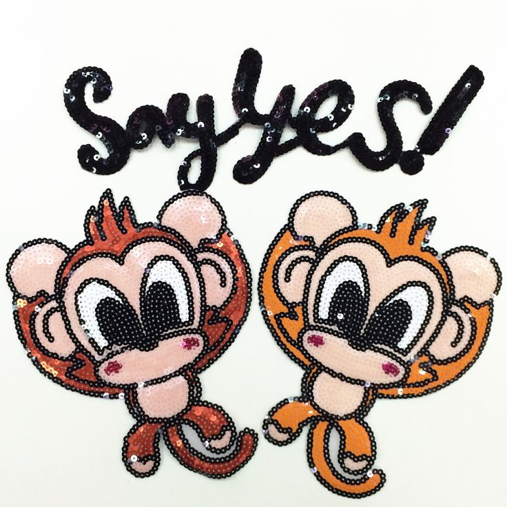 monkey letter sequined parches termoadhesivos embroidery applique patches for clothes ,ironing parches para la ropa #Affiliate