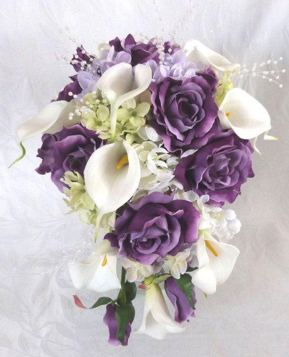 Purple Hydrangea Wedding Bouquets | Bridal bouquet bridesmaid bouquet purple roses lilac hydrangea ...