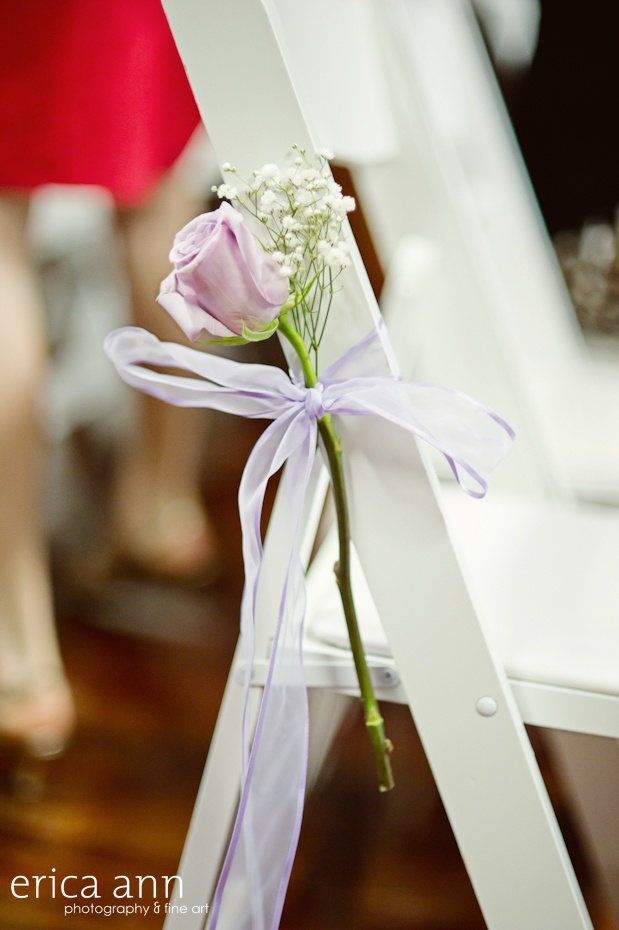 Simple & elegant single rose aisle decoration