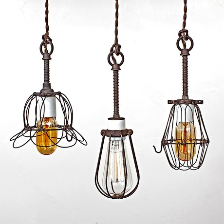 Love them all: Industrial Rustic, Pendants Lamps, Vintage Lamps, Industrial Lights, Lights Pendants, Pendants Lights, Edison Bulbs, Vintage Industrial, Cages Lights