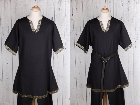 Black men's medieval tunic - Viking tunic - Short sleeve