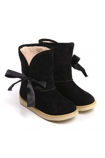$19.99 Suede Upper Side Bow Decor Casual Winter Boots @MayKool