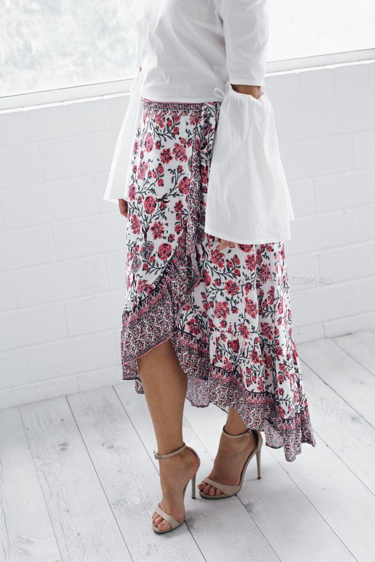 flutter wrap skirt - print - Esther Boutique
