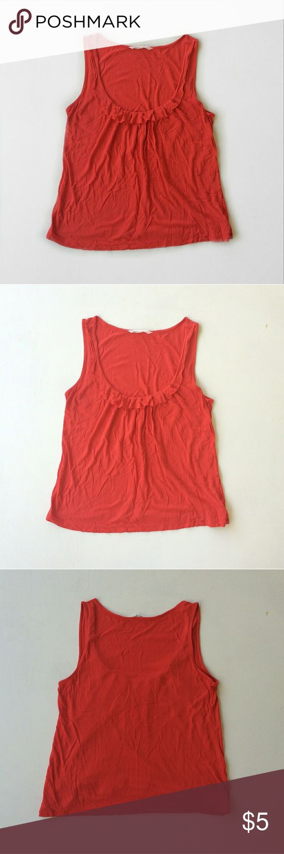 Old Navy Orange Ruffle Tank Has some wear but in overall good condition. Pretty low cut. Size medium.  100% rayon   Laying flat: Old Navy Tops Tank Tops