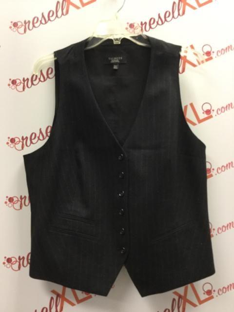 c5798f07cb808d Talbots Size 16W Black Pinstripe Wool Vest