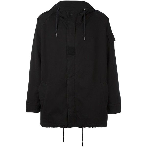 Saint Laurent military parka (44 745 UAH) ❤ liked on Polyvore featuring men's fashion, men's clothing, men's outerwear, men's coats, black, mens military style coat, mens military coat, mens long parka coats, mens parka coats and mens long coat