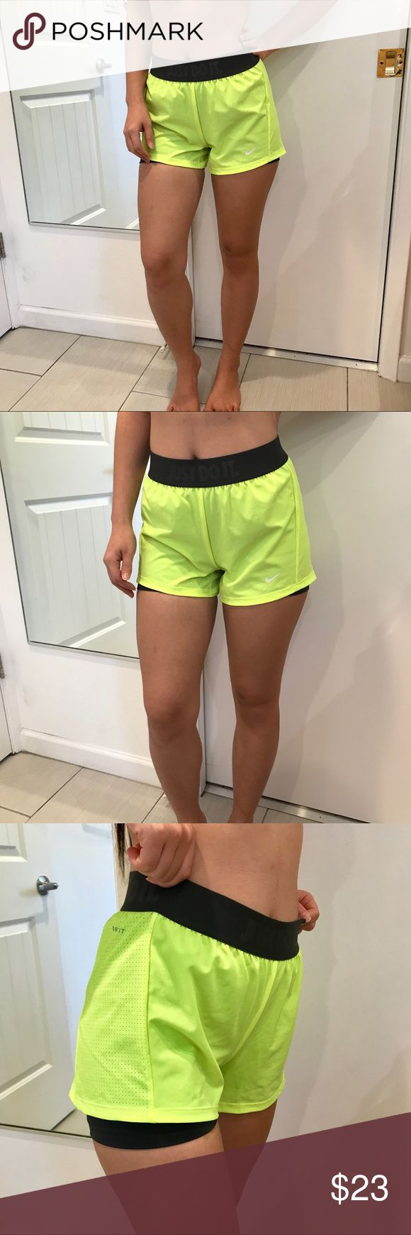 Nike neon green athletic shorts Nike neon green athletic shorts. New without tag. Size XS. Has a very nice fitting! The color is somewhat really bright if you see in person but I know some of you are fans of neon so ... why not rock with it? 👏🙌🏻 Nike Shorts