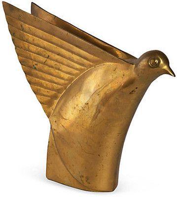 Vintage Art Deco Brass Bird Sculpture