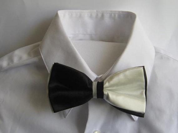 Black and white satin bow tie.: Bows Ties, White Satin, Bow Ties, Black And White, Satin Bows