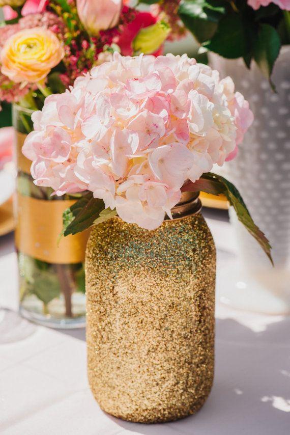 Gold Glitter Mason Jar   Find both sizes at www.groopdealz.com