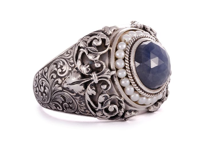 Rose-cut sapphire and seed pearl silver ring with hand engraved shank by GALACIA DESIGNER JEWELERY. galacia.co.za