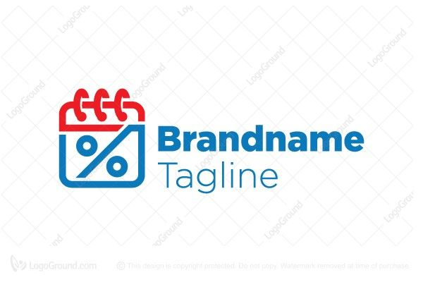 Logo for sale: Daily Discount Calendar with percent sign  Logo by Brandmaistro.com Copyright 2016 Brandmaistro  For sale at http://www.logoground.com/logo.php?id=21210