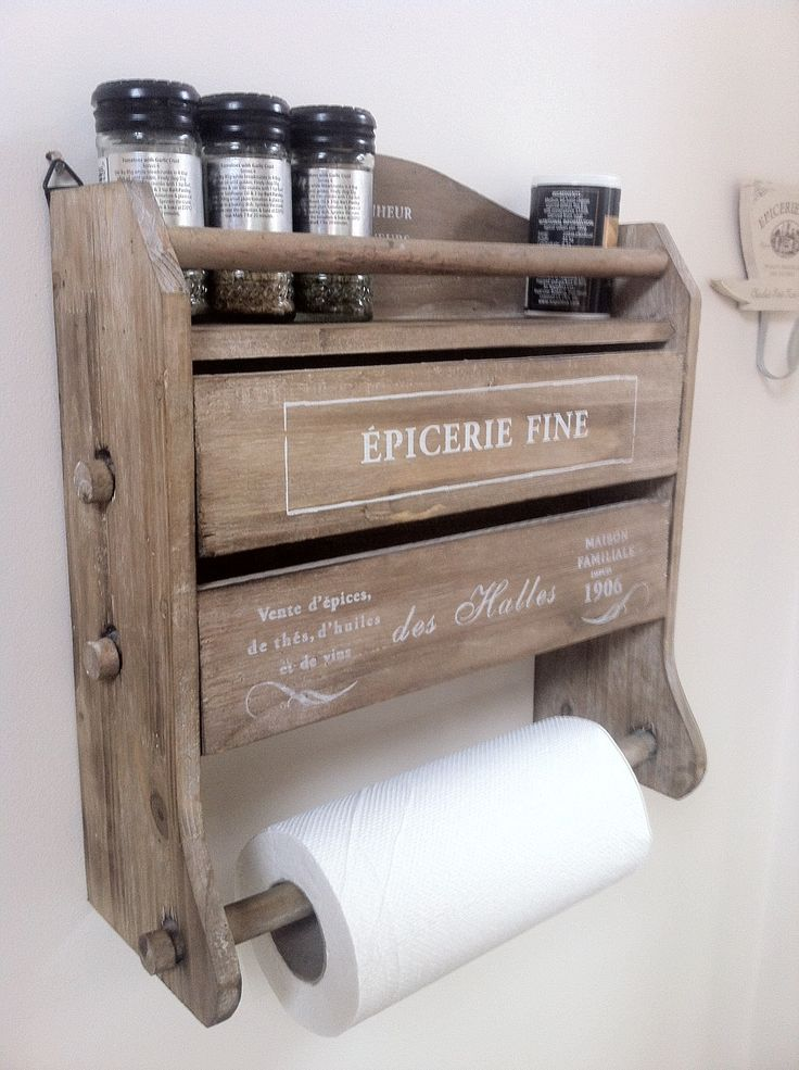wooden kitchen roll tin foil dispenser - want!  (from : http://www.shabbychicandvintage.co.uk/)
