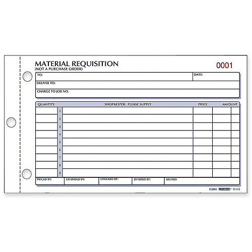 Material Requisition Book, 4 1\/4 X 7 7\/8, Two-Part Carbonless, 50 - what is requisition