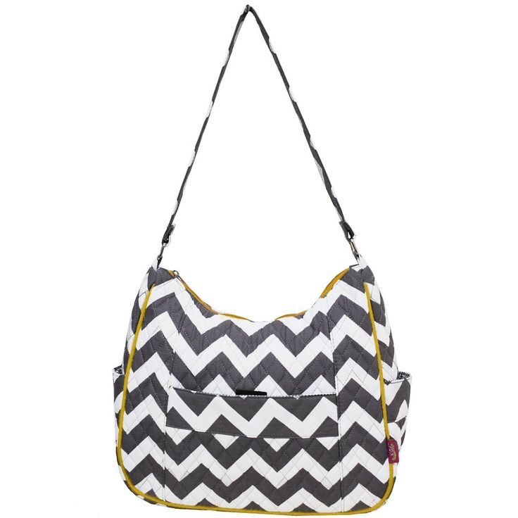 """Grey & White Chevron Print Quilted Hobo Fashion Bag-yellow. Top Zipper closure. Single Canvas Handle. 12"""" Handle drop. 2 Side Pockets. Dimensions: 10½""""(H) x 12½""""(L) x 4""""(W)<."""