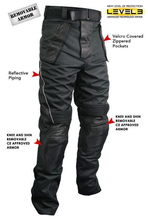 Xelement Men's Tri-Tex Fabric and Leather Motorcycle Racing Pants with Level-3 Advanced Armor