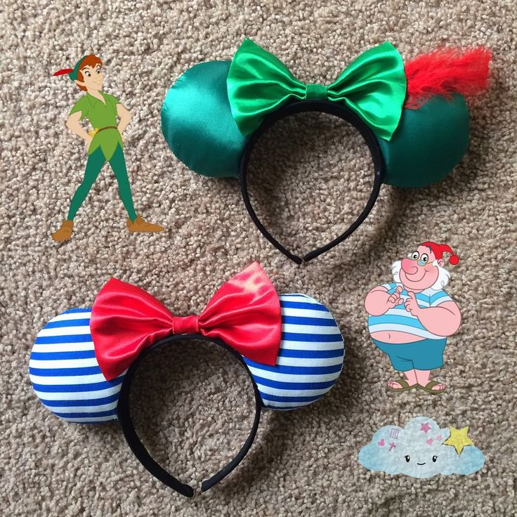 """192 Likes, 11 Comments - Visions of a Daydream (@visionsofadaydream) on Instagram: """"Peter Pan and Mr. Smee :) #handmade #peterpanears #mrsmee #jakeandtheneverlandpirates #handmadeears…"""""""
