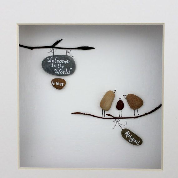 Irish pebble art unique handmade new born by BoyneValleyPebbleArt