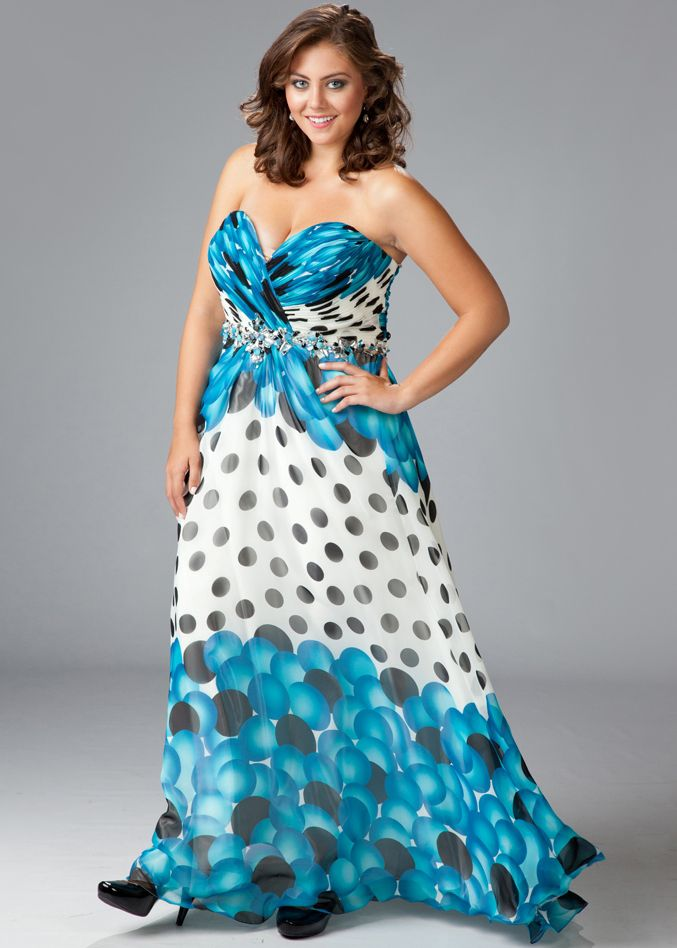 Sydney's Closet Plus Size Prom Dress Style SC7056 available in Blue Bubbles, Pink Bubbles