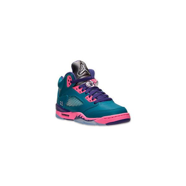 Girls' Grade School Air Jordan Retro 5 Basketball Shoes ❤ liked on Polyvore  featuring jordan
