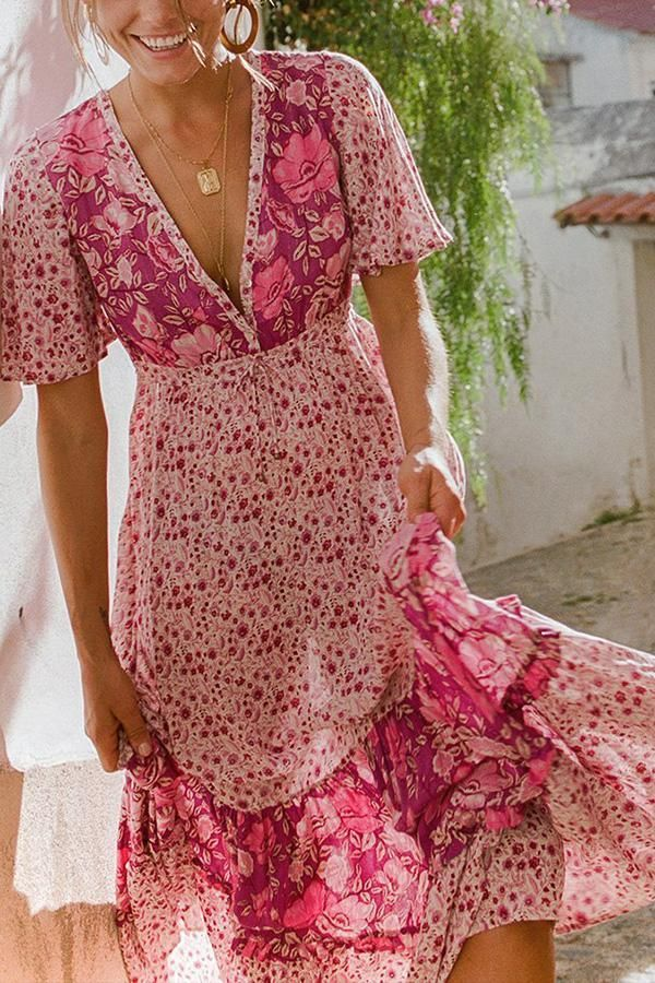 469727dd97f Sexy Bohemia Floral Print Vacation Maxi Dress in 2019 | My love ...