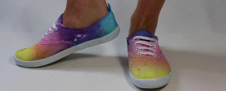 Geverfde regenboog schoenen #Tie dye