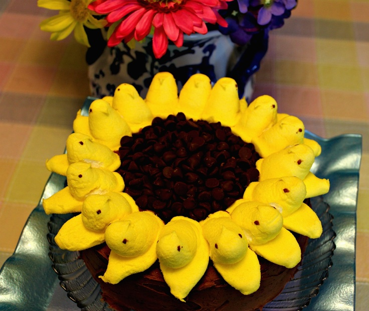 Sweet Tea and Cornbread: Sunflower Peeps Cake...Chocolate Mayonnaise Cake with Chocolate Cream Cheese Frosting!