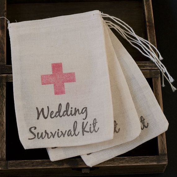 10 x Wedding Survival Kit Muslin Favour by CandybuffetCreations